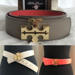 "Tory Burch 1 1/2"" Reversible Logo Leather Belt"